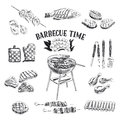 Vector set of barbecue and grill elements. Vector