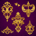 Vector set with baroque ornaments in victorian style ornate element for design it can be used for decorating of wedding Royalty Free Stock Photos