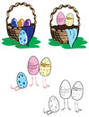 Vector set of baskets with easter eggs and chickens Royalty Free Stock Images