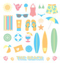 Vector set beach fun objects collection of common seen at the Royalty Free Stock Photos