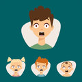 Vector set beautiful emoticons face of people fear shock surprise avatars characters illustration