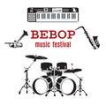 Vector set of bebop jazz music instruments, flat design.