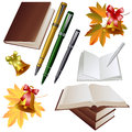 Vector set bell on the background of maple leaves with books and pens Royalty Free Stock Photos