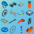 Vector set of bicycle parts isolated isometric icons. Bicycle objects and design elements. Bike repair gears. Stars
