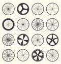 Vector set bike wheel silhouettes collection of retro style Royalty Free Stock Image