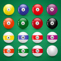 Vector set of billiard balls сolourful Royalty Free Stock Images