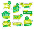 Vector set of bio, eco, organic stickers or logos. Royalty Free Stock Photo