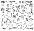 Vector set of birthday doodles
