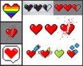Vector set of 8 bit pixel art hearts