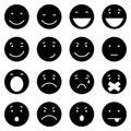 Vector Set of 16 Black Emoticons