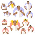 Vector set of black man emotional expressions, flat design icons
