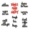 Hand drawn lettering of things that make happy.