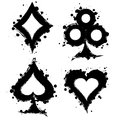 Vector set of black and white graphic illustration of sign of playing card with ink blot Royalty Free Stock Photo