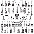 Vector set of black and white musical instruments , flat style
