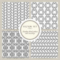 Vector set of black and white seamless floral pattern with snowdrops