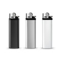 Vector Set of Blank Black White Plastic Metal Lighters Close up Isolated