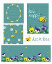 Set of blank, flyer, seamless texture, card with bees and flowers of turquoise color. Vector set
