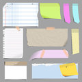 Vector set of blank note paper. Royalty Free Stock Photo