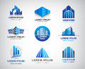 Vector set of blue, modern office, company Royalty Free Stock Photo