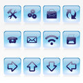 Vector set of blue pale glass square buttons with office web site theme Royalty Free Stock Image
