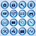 Vector set of blue round glass buttons with office theme Stock Photo