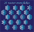 Vector set blue snowflakes on blue background gradients Stock Image