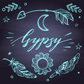 Vector Set of Boho Style Elements Lettering Calligraphy text. Tattoo template. Trendy hand drawn tribal Gypsy symbol collection.