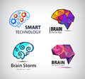 Vector set of brain, technology, brainstorm logo. Royalty Free Stock Photo