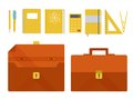 Vector set of briefcase and school supplies illustrations flat design Stock Image