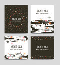 Vector set of bright hand drawn cards templates. Greeting card. Royalty Free Stock Photo