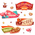 Vector set of brightly banners for cafe, bakery Royalty Free Stock Photo