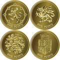 vector Set British money gold coin one pound Royalty Free Stock Photo