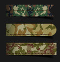Vector set of bubbles stickers labels tags with camouflage fabric pattern shape illustration template design Royalty Free Stock Photography