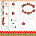 Vector set of business card templates, square postcards and banners with image of forest berries.
