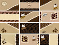 Vector set of business cards on coffee banner card brown background retro Stock Photos