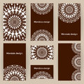 Vector set business forms with mandalas. Cards templates