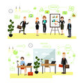 Vector set of business people symbols icons in flat style