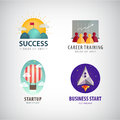 Vector set of business start up logos, career training, corporate, success Royalty Free Stock Photo