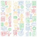 Vector set of bussines icons in doodle style. colorful pictures on a piece of paper on white background.