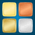 Vector set of buttons four miscellaneous metallic Stock Photos