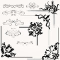 Vector set of calligraphic design elements and floral frames Stock Images