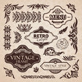 Vector set calligraphic design elements page decoration Royalty Free Stock Photos