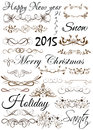 Vector set calligraphic design elements and page decoration for retro Stock Photos