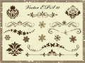 Vector set calligraphic design elements and page decoration snow flakes Royalty Free Stock Photography