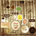 Vector set of calligraphic design elements page decorations and quality coffee labels for vintage Royalty Free Stock Image