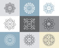 Vector set of calligraphic,flower abstract templates concept. Royalty Free Stock Photo