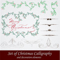 Vector set: calligraphic vintage design elements a Royalty Free Stock Image