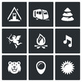 Vector Set of Camping Icons. Camp, Trailer, Forest, Romance, Fire, Music, Animal, Site, Weather. Royalty Free Stock Photo