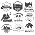 Vector set of camping labels in vintage style. Design elements isolated on white background. Camp outdoor adventure