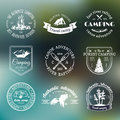 Vector set of camping logos. Tourism emblems or badges. Signs collection of outdoor adventures with Indian elements.